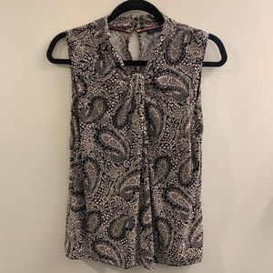 Tommy Hilfiger Paisley Beige Sleeveless Top Size M